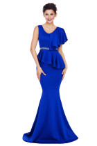 Royal Blue Asymmetric Ruffle Peplum Mermaid Party Dress