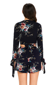Navy Floral Print Split Sleeves Crop Top and Short Set