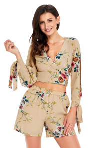 Apricot Floral Print Split Sleeves Crop Top and Short Set