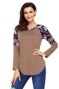 Brown Floral Varsity Stripe Long Sleeve Top