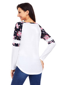White Floral Varsity Stripe Long Sleeve Top