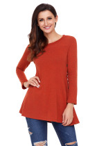 Rust Red Button Side Long Sleeve Swingy Tunic