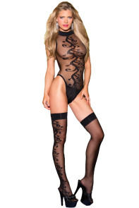 Sexy Jacquard Swirl Teddy with Stocking