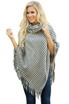 Gray White Stripes Cowl Neck Poncho Sweater