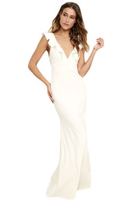 White Deep V Neck Ruffle Detail Maxi Party Dress