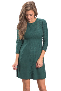 Green Cable Knit Fitted 3/4 Sleeve Sweater Dress