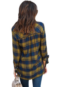Mustard Blue Plaid Drape Top