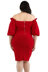 Wine Pleated Shoulder Plus Bodycon Dress