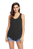 Black Summer Side Slits Tank Top with Pocket