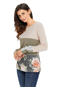 Oatmeal Color Block Floral Patchwork Long Sleeve Blouse Top