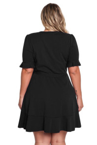 Black Plus Size Ruffle Surplice Wrap Dress