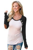 Black Raglan Sleeve Elbow Patch and Buttons Top