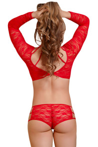 Red Lacy Caged Beauty Lingerie Set