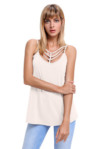 Light Pink Spaghetti Strap Tank Top with Caged Neckline