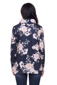 Coral Floral Print Cowl Neck Charcoal Sweatshirt