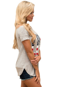Gray Short Sleeve American Flag LOVE Print Top