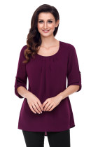 Purple Ruched Detail Pin up Sleeve Front Blouse