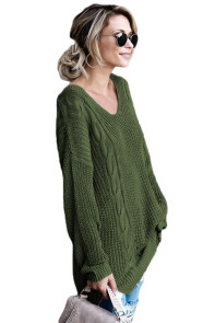 Green Modern Lady Cable Knit Sweater