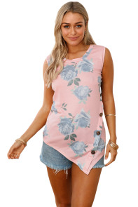 Pink Floral Asymmetric Button Detail Tank Top