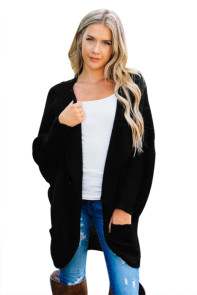 Black Dolman Sleeve Knit Cardigan with Pocket