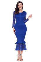 Navy Blue Hollow-out Long Sleeve Lace Ruffle Bodycon Midi Dress