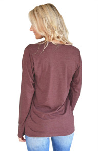 Stylish Letter Print Maroon Long Sleeve Top