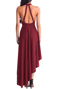 Burgundy Sheer Mesh Decolletage Hi-low Party Dress