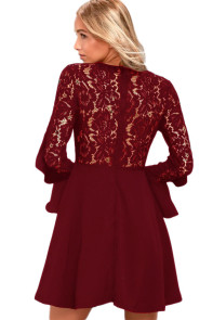 Wine Red Lace Long Sleeve Skater Dress