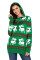 Cute Christmas Reindeer Knit Green Hooded Sweater