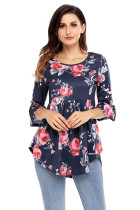 Navy Grounding Floral Print Babydoll Top