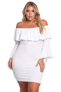 White Plus Size Off Shoulder Layered Ruffle Bodycon Dress