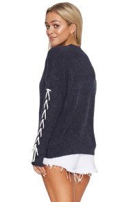 Navy Lace up Sleeve Sweater