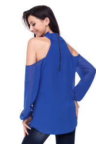 Blue Knot Neckline Cold Shoulder Long Sleeve Top