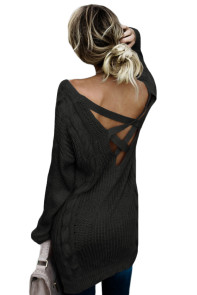 Black Modern Lady Cable Knit Sweater
