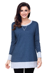 Navy Side Pocket Elbow Patch Colorblock Tunic