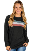 Black Contrast Stripes Pullover Sweatshirt