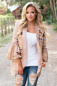 Khaki Bell Sleeve Floral Kimono with Lace Detail