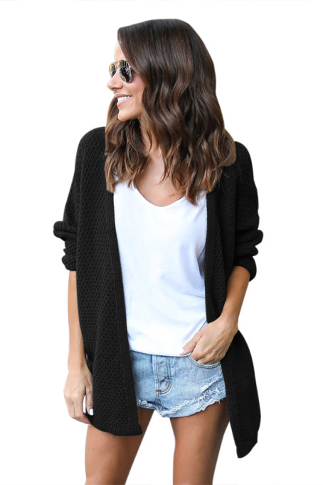Black Windy Morning Waffle Cardigan