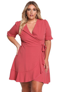 Fushia Plus Size Ruffle Surplice Wrap Dress