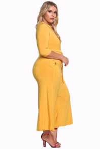 Mustard Plus Size Cut Out Wide Legged Jumpsuit