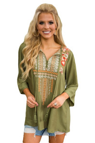 Bohemian Embroidery Olive Sleeved Blouse