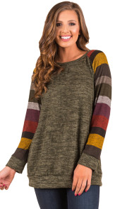 Multicolor Long Sleeve Heathered Green Sweatshirt