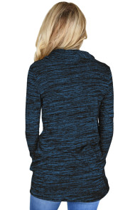 Heather Blue Cozy Cowl Neck Drawstring Sweatshirt