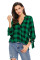 Green Black Plaid Drape Top
