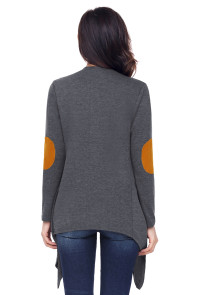 Gray Elbow Patch Women Cardigan