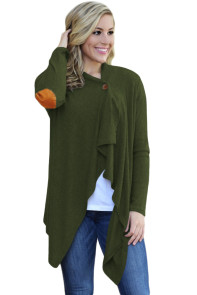 Army Green Elbow Patch Women Cardigan