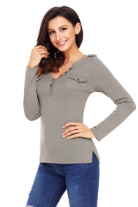 Gray Button Long Sleeve Top with Pockets