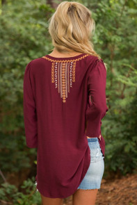 Bohemian Embroidery Burgundy Sleeved Blouse