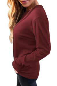 Burgundy Cage Back Long Sleeve Blouse