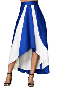 Contrast White Insert Hi-low Maxi Skirt Blue